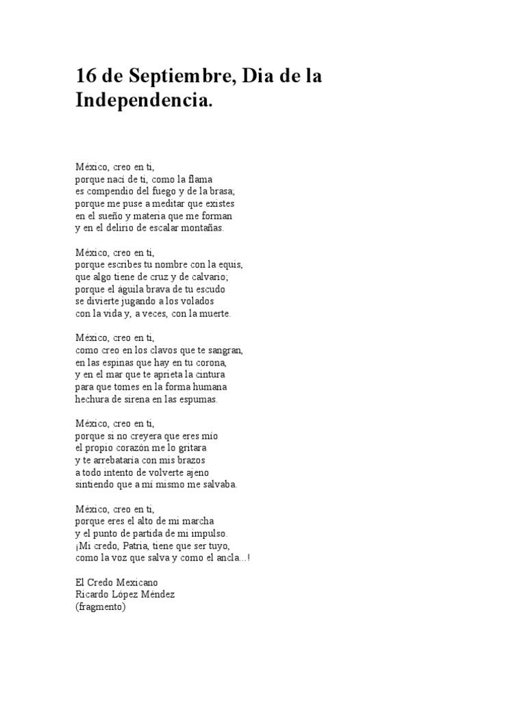 poema del dia de la independencia de mexico
